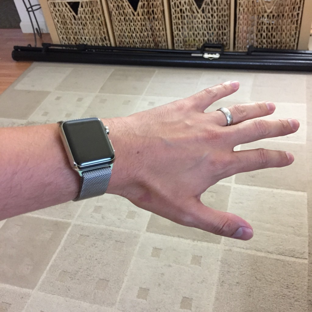 The Apple Watch on my wrist.