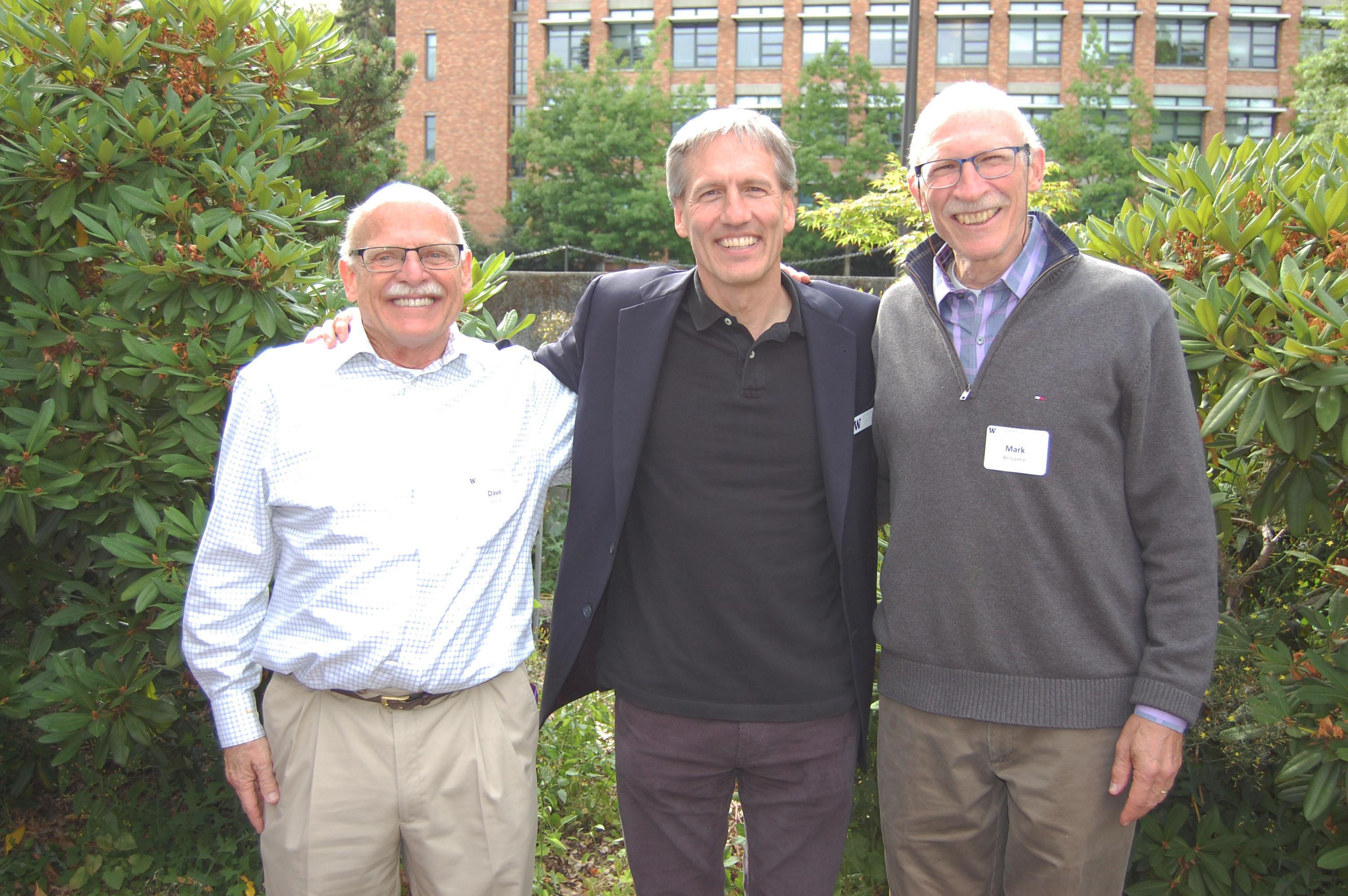 A picture of Professor David Stensel, Department Chair Greg Miller and Professor Mark Benjamin, from left.