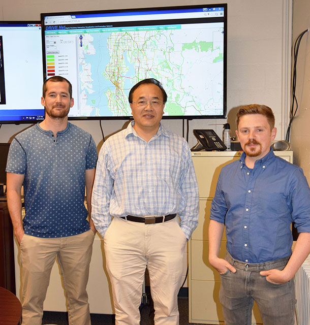 A Picture of Ph.D. student Kristian Henrickson, Professor Yinhai Wang and alumnus Yegor Malinovskiy (Ph.D. '13), from left to right