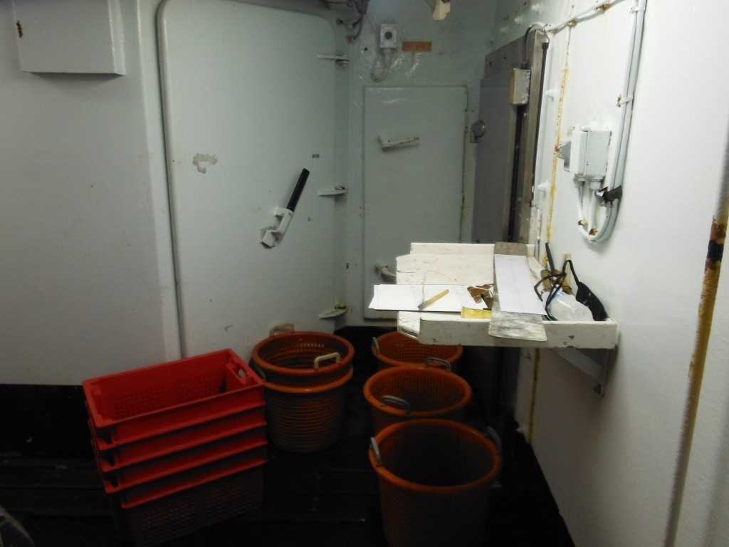 Lindsey collects samples in these baskets and performs her data collecting at this station.