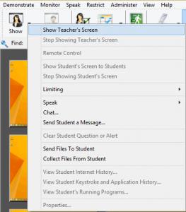 Screenshot of LanSchool menu