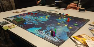 Pandemic board game board, cards, and character pawns