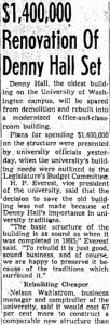 """$1,400,000 Renovation of Denny Hall Set."" Clipping courtesy of America's Historical Newspapers."