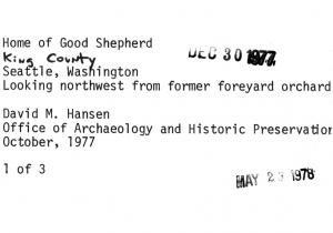 Papers upon the addition of the Home of the Good Shepherd to the National Registry of Historic Places