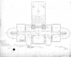 Denny Hall, second floor plan, 1894. Image courtesy of Campus Engineering records (0001-A-_3_).