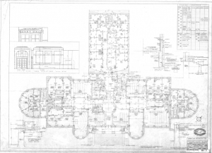 Denny Hall, second floor plan, 1956. Image courtesy of Campus Engineering records (001-A-_27_).