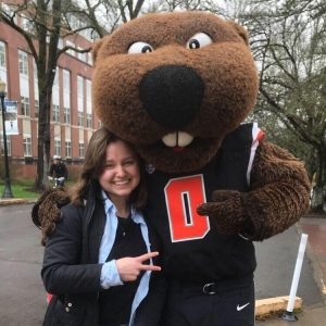 Victoria with Benny the Beaver mascot for Oregon State