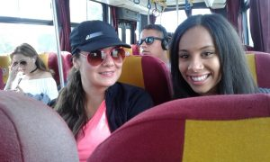 Vanessa and her host sister on the bus