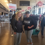 Kaylen and her friend, Alyssa, pictured in the airport en route to their flight to London, where they will spend time before meeting the rest of their cohort in Berlin.