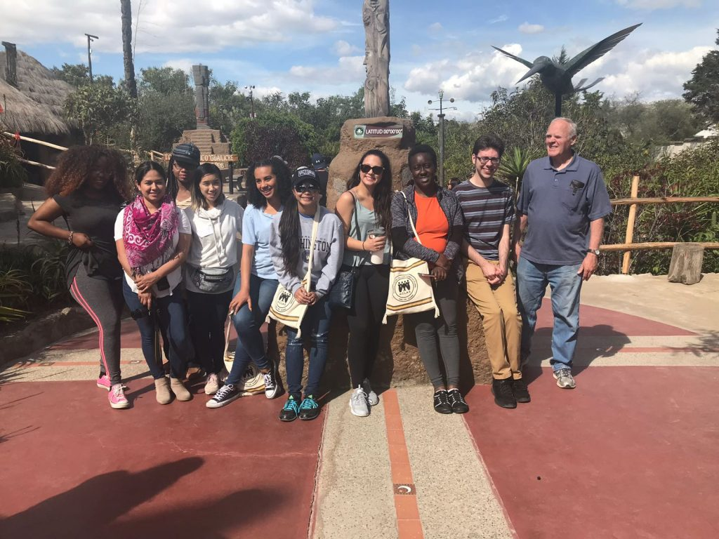 Vanessa and her other program members and I posing at the Equator