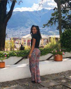 Vanessa enjoying the beautiful view at an art museum in Ecuador