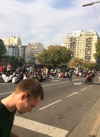 Photo of Students protesting for their professor to be paid a higher salary outside of University of Buenos Aires