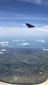 Photo of above UK from the airplane.