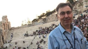 Photo of Molica's professor, Dr. Taso, at Odeon of Herodes, at the Calexico Concert.