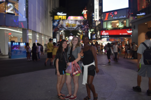 UWT students at a night market in Xiamen district in Taiwan.