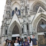 Vanessa and her cohort making Silly faces after visiting a famous old church in Quito called the Basilica