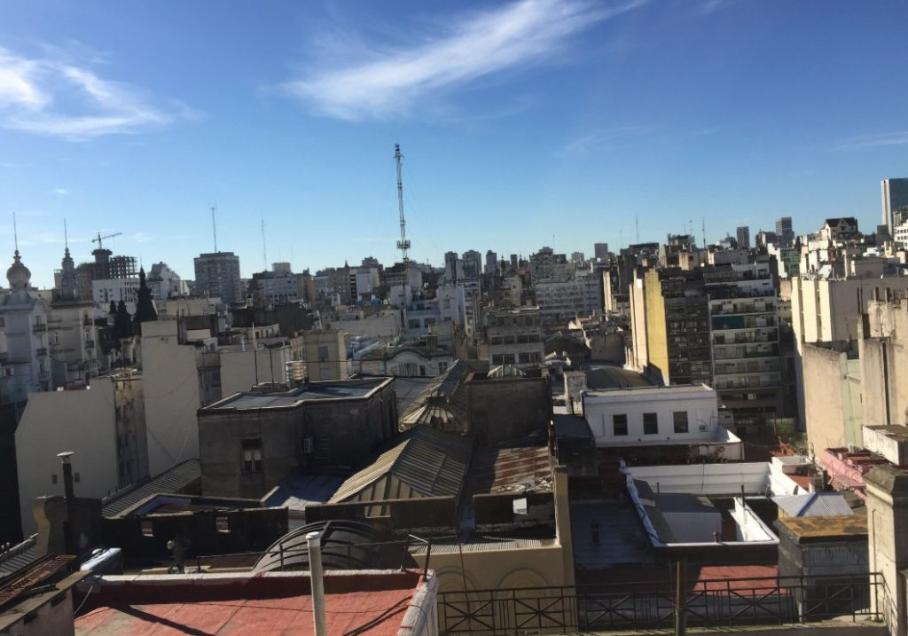 View of Buenos Aires from the rooftop of Miles's hostel