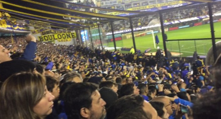 La Boca fans chanting for their team, even before the game starts