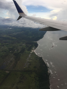 View from the window seat of Miles's flight from Panama to San Francisco.
