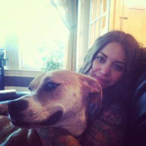 Jordan holding her dog
