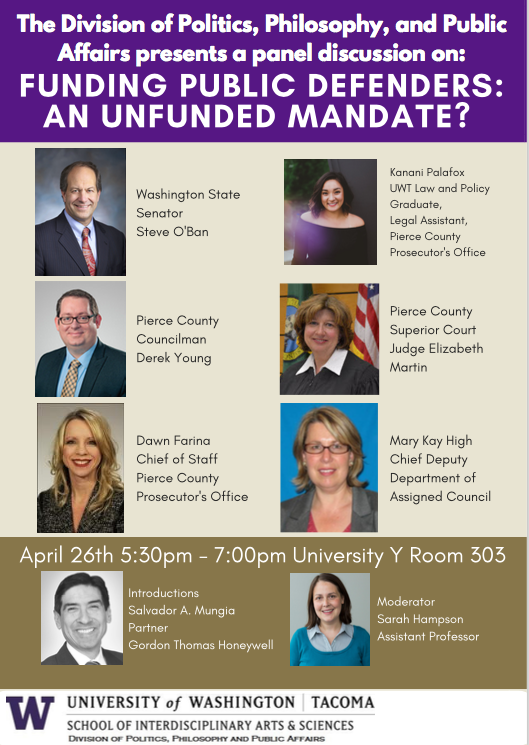 Upcoming Panel at UWT on State Funding of Public Defenders