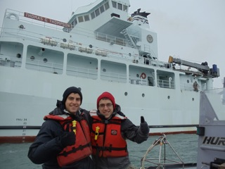 Kevin and Ben head out in the R/V Thompson's work boat to sample salinity offshore of the Elwha