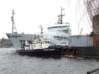 The R/V Thompson and R/V Barnes  parked next to the Marine Sciences Building