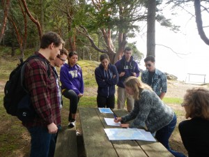 Andrea talks about the tectonics that formed the local geology at Lime Kiln State Park