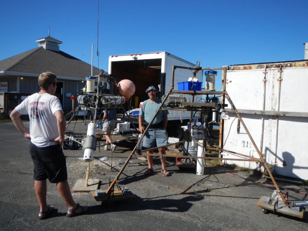 Dan and Niall work on both tripods at the Port Angeles harbor in August