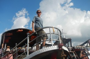 Andrea gets ready for Mekong River channel studies in Vietnam