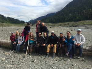 Ocean 492 class, Spring 2014; field trip to former Lake Mills, Elwha River