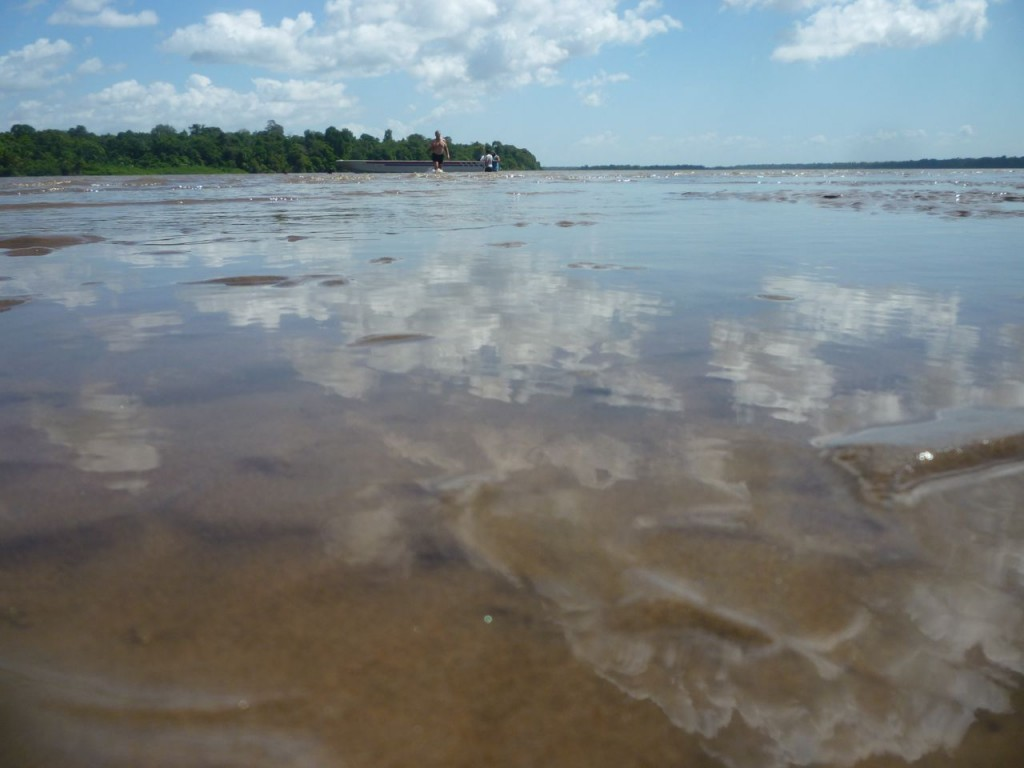 A lovely sky reflected in the mud flats at the Amazon!
