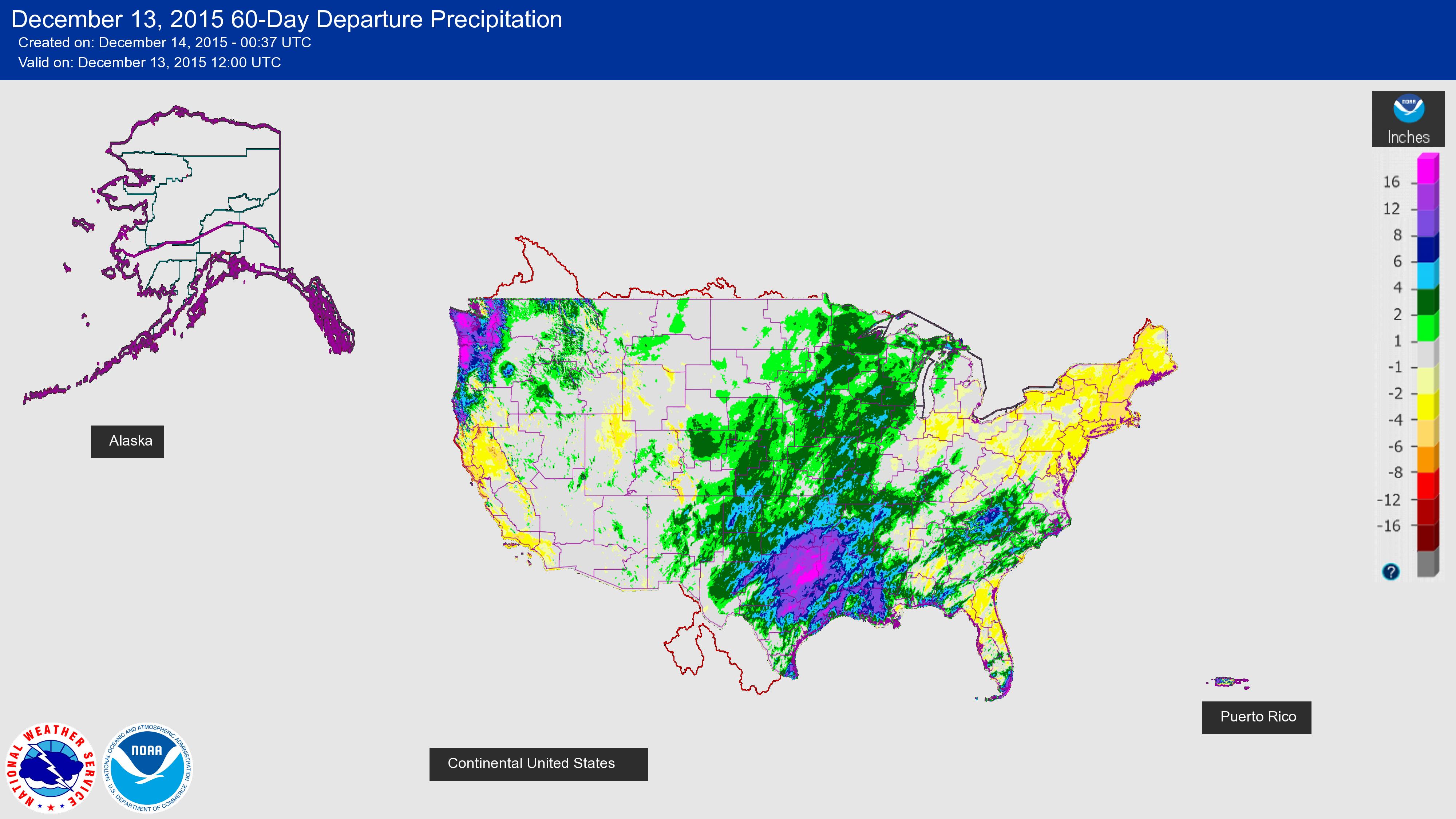 December 13, 2015 60-Day Departure Precipitation