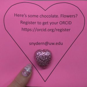 Here's some chocolate. Flowers? Register to get your ORCID orcid.org/register