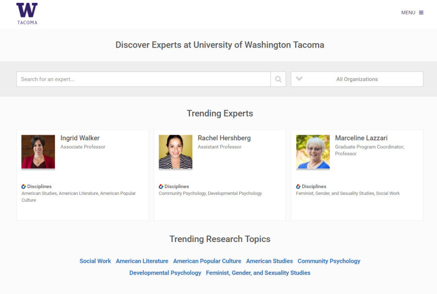 Screenshot of Experts Gallery