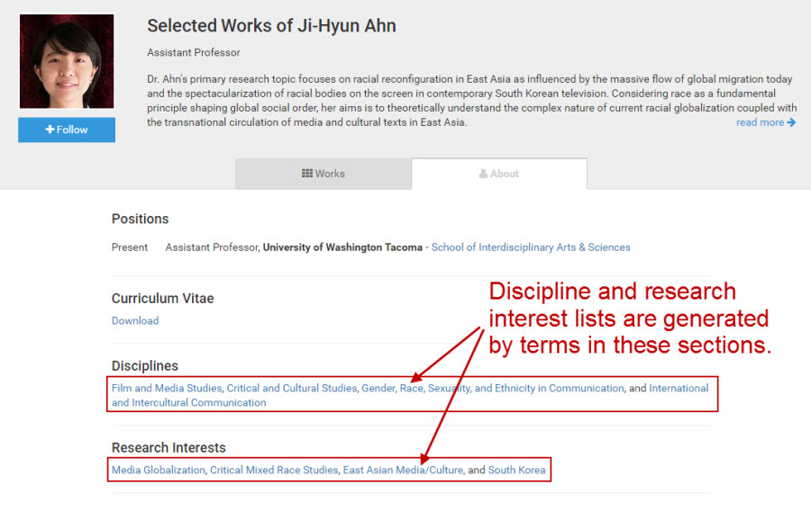 "Screenshot of profile ""about"" page showing disciplines and research interests."