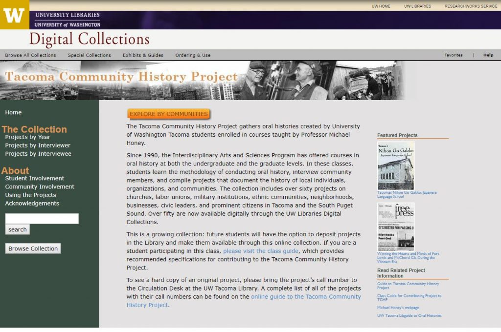 Screenshot of Tacoma Community History Project homepage
