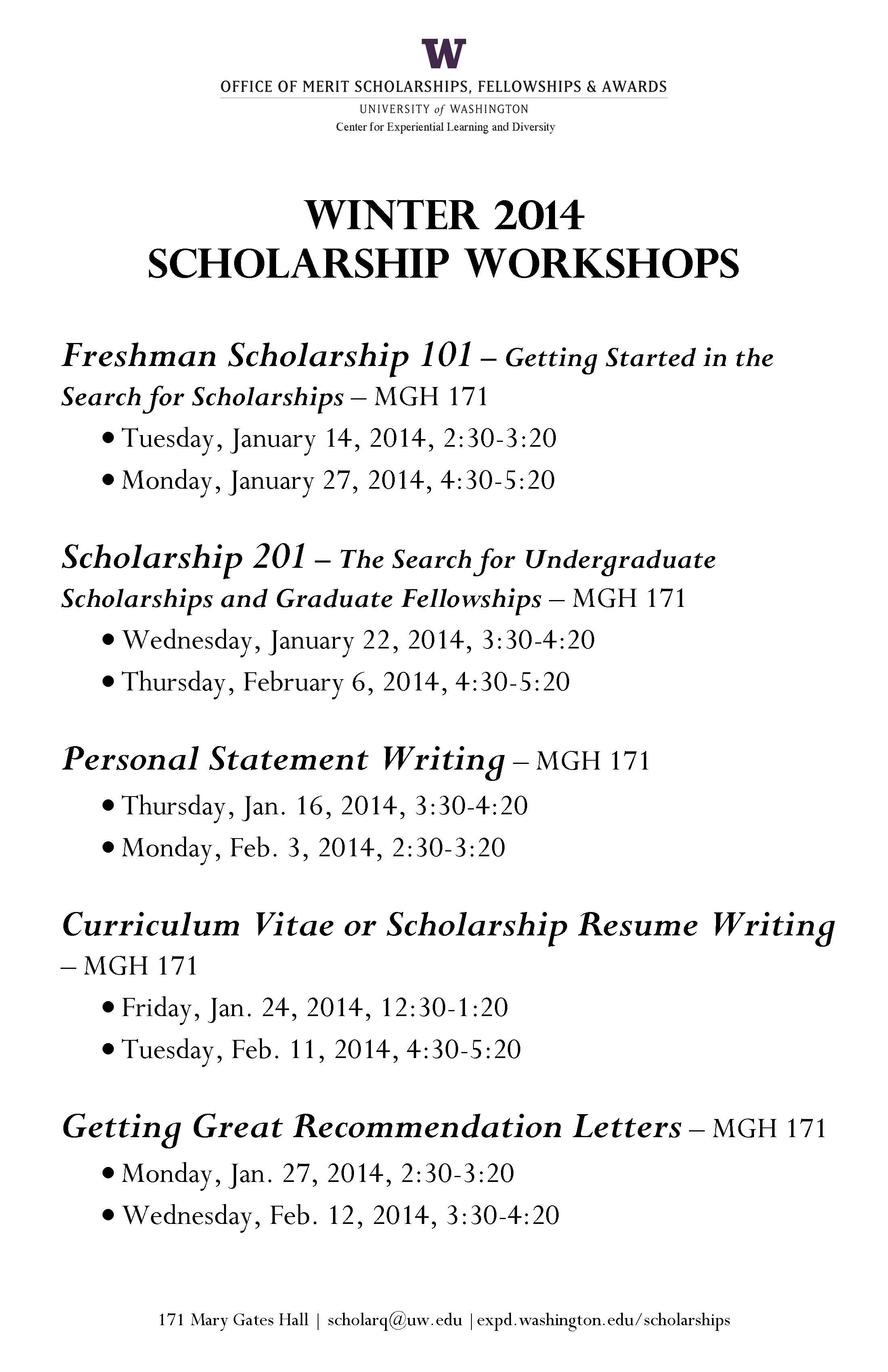 winter scholarship workshops from omsfa - Scholarship Resume