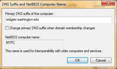 DNS Suffix Dialog